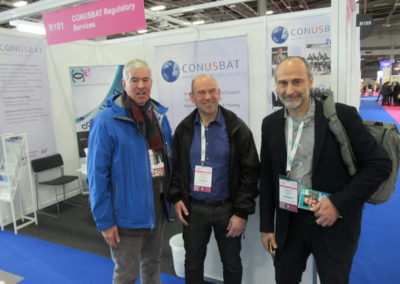 "CCE at In-Cosmetics - Paris 2019 - The Three Amigos"": Pere Adell Winkler, Kosmetikon & Treasurer for CCE / Remco Schade, CosTec & VP1 for CCE / Steven L. Hanft, CONUSBAT Regulatory Services & 'Czar of Communications' for CCE"